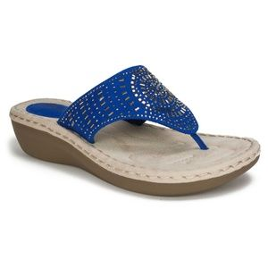 New Women's Cliffs Cienna Wedge Flip Flop Sandals